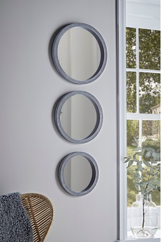 Set of 3 Cox & Cox Concrete Effect Round Mirrors