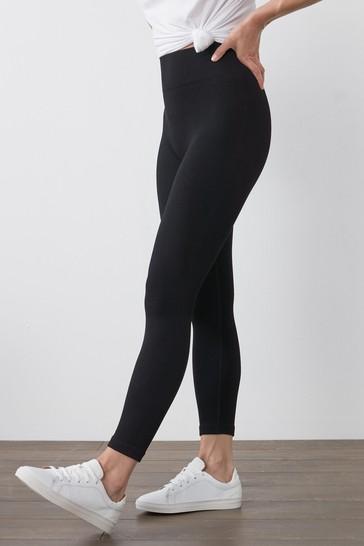 Black Full Length Ribbed Leggings