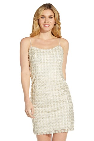 Adrianna Papell White Pearl Embellished Sheath Dress