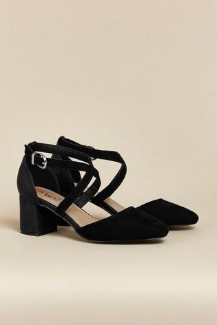 Wallis Black Cross Strap Block Heels