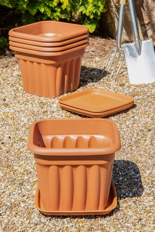 Set of 5 Wham Vista 40cm Plastic Square Planters & Trays