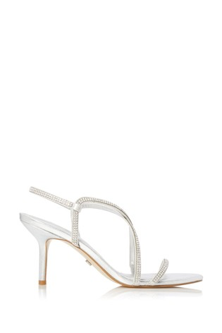 Dune London Moto Silver Synthetic Barely There Diamanté Strappy Sandals