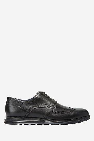 Cole Haan Black Original Grand Wingtip Oxford Lace-Up Shoes
