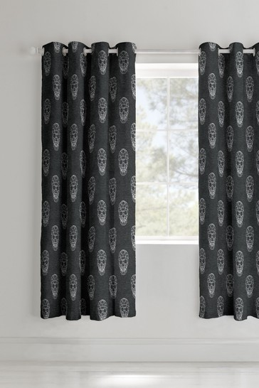 Catherine Lansfield Grey Skulls Lined Eyelet Curtains