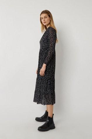 Warehouse Black Spot Mesh Tiered Midi Dress