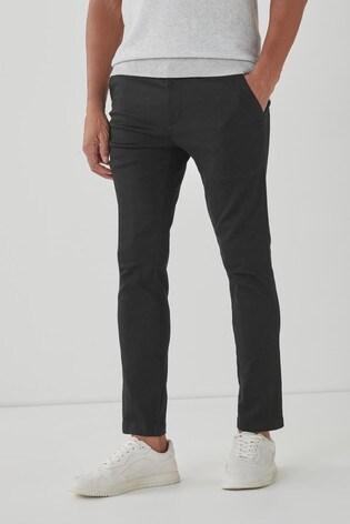 Black Slim Fit Motion Flex Stretch Chino Trousers