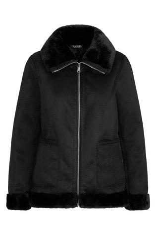 Lauren Ralph Lauren® Black Suede Fur Trim Aviator Jacket