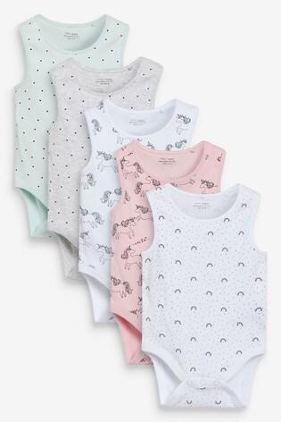 Pink Unicorn 5 Pack Vest Bodysuits (0mths-3yrs)