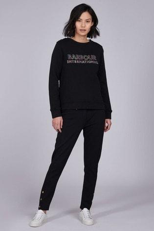 Barbour® International Black Gold Trim Ponte Slim Leg Trousers