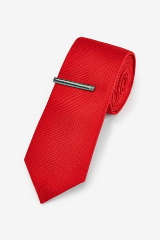 Red Textured Tie With Tie Clip