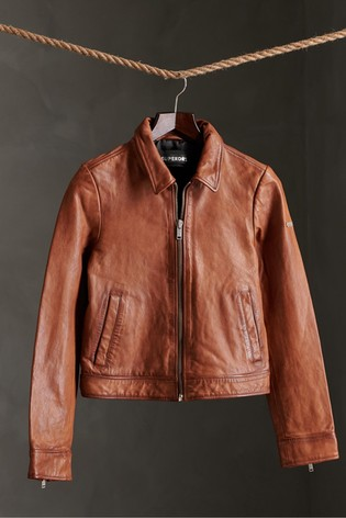 Superdry Cropped Leather Harrington Jacket