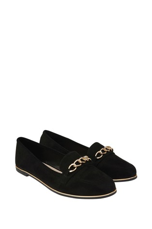 Accessorize Black Chain Detail Loafers