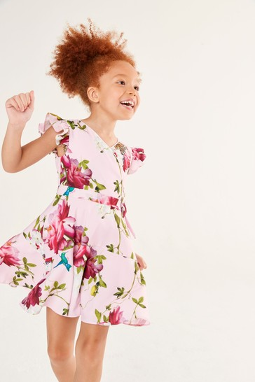 Baker by Ted Baker Girls Pink Floral Wrap Dress