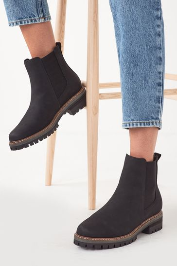 Black Regular/Wide Fit Forever Comfort® Chunky Casual Chelsea Boots