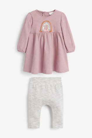 Lilac/Grey Rainbow Dress and Legging Set (0mths-2yrs)