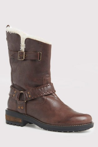 Superdry Tempter Leather Biker Boots