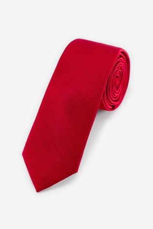 Red Slim Twill Tie