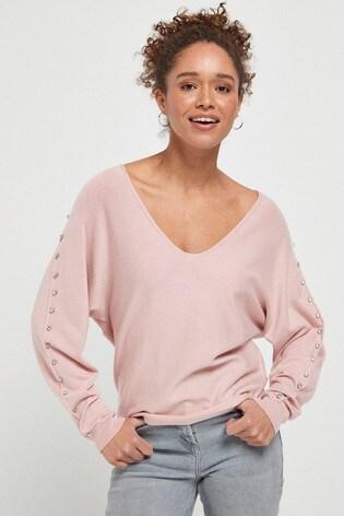 Pink Dolman Stud Sleeve Jumper