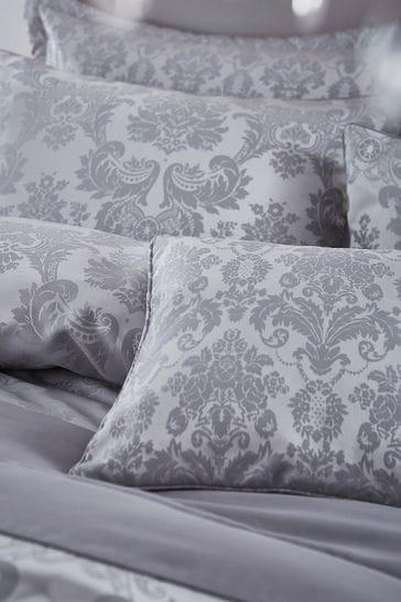Catherine Lansfield Silver Damask Jacquard Cushion