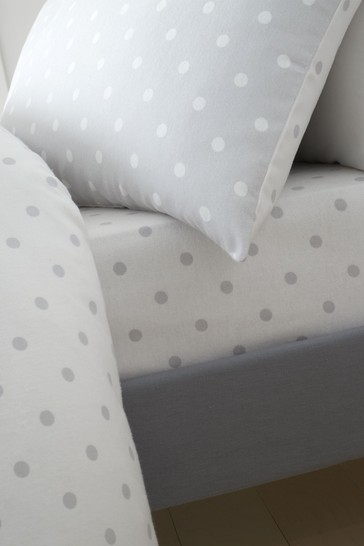 Catherine Lansfield Grey Dotty Brushed Cotton Fitted Sheet