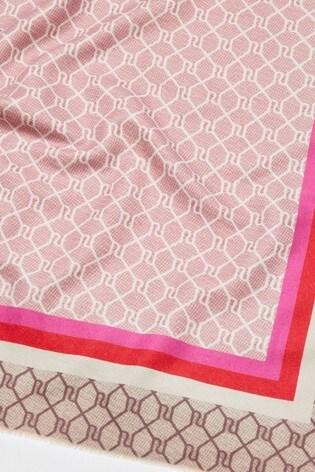 River Island Bright Pink Border Monogram Scarf