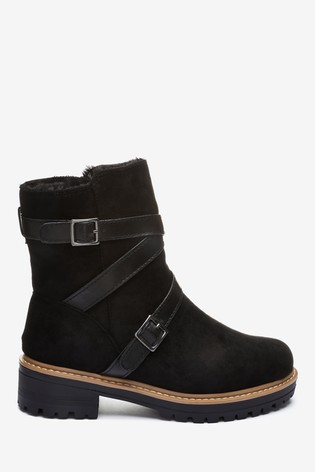 Black Faux Fur Lined Forever Comfort® Buckle Strap Boots