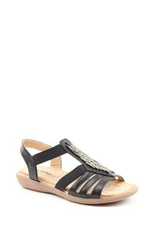 Heavenly Feet Agneta Ladies Black Sandals