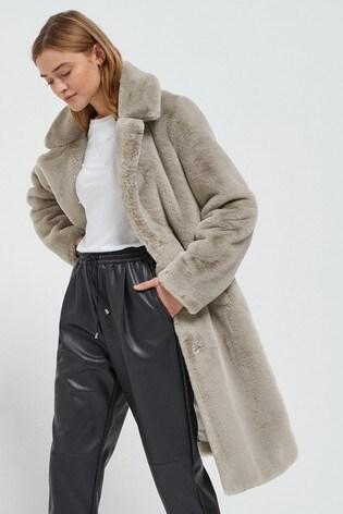 Grey Longline Faux Fur Coat