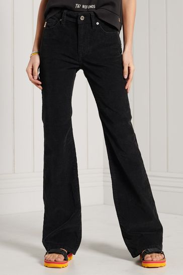 Superdry Black Mid Rise Slim Cord Flare Jeans