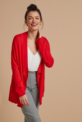 Red Button Detail Cardigan