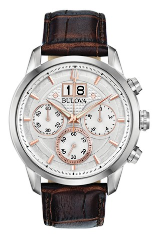 Bulova Sutton Chronograph, Date, Leather Strap Watch