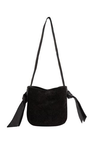 Oliver Bonas Black Immie Eyelet Black Leather Cross Body Bag