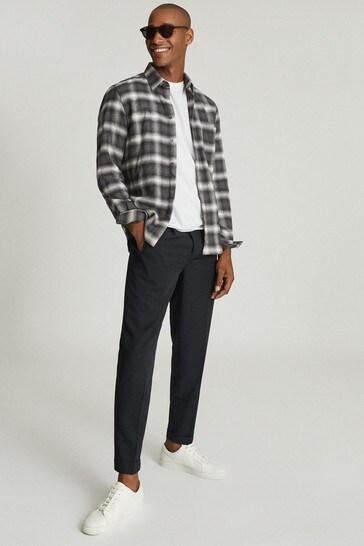 Reiss Dash Brushed Cotton Checked Overshirt