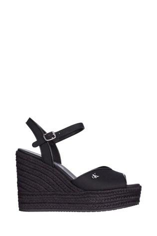 Calvin Klein Black Ankle Strap Wedge Sandals