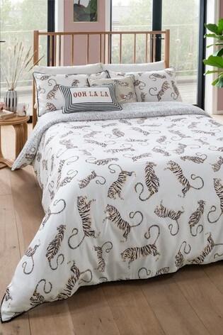 Yvonne Ellen White Tiger Duvet Cover And Pillowcase Set