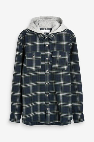 Blue Regular Fit Brushed Flannel Heavyweight Hooded Check Shacket
