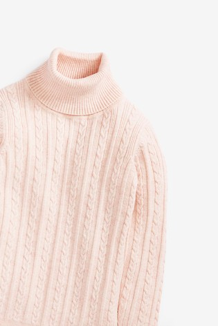 Pink Marl Cable Roll Neck Jumper (3mths-7yrs)