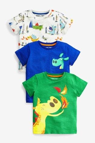 Bright Dragon 3 Pack T-Shirts (3mths-7yrs)