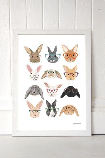 Rabbits In Glasses by Hanna Melin Framed Print