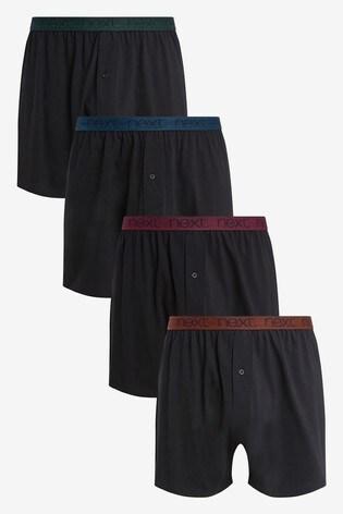 Black Loose Fit Pure Cotton Four Pack
