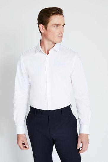 Moss London Extra Slim Fit White Single Cuff Stretch Shirt