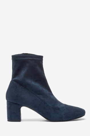 Navy Sock Ankle Boots