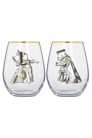 Set of 2 V&A Alice In Wonderland His And Hers Tumbler Glasses