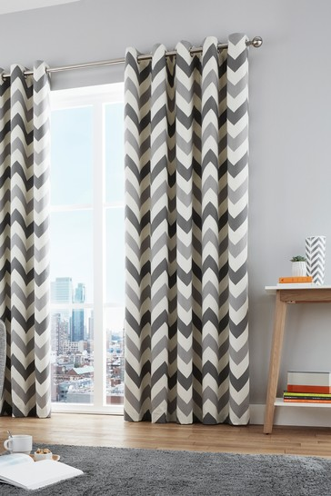 Fusion Chevron Geo Lined Eyelet Curtains