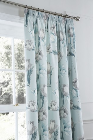 Tulips Floral Lined Pencil Pleat Curtains by D&D