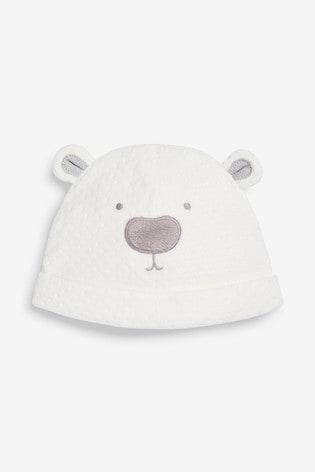 Ecru Velour Bear Hat (5-12mths)