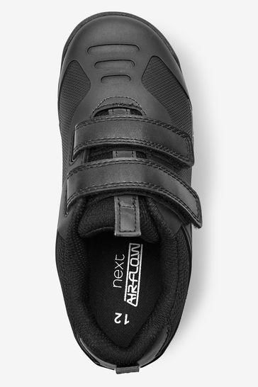 Black Airflow Double Strap Shoes
