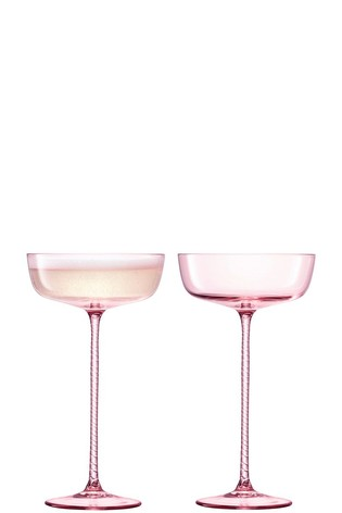 Set of 2 LSA International Champagne Theatre Blush Champange Saucers