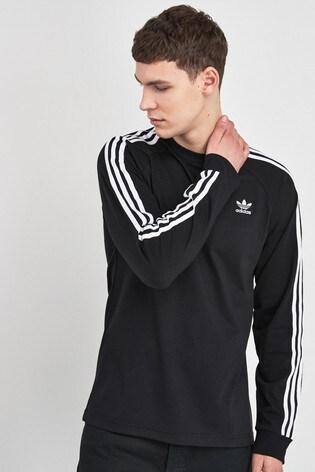 adidas Originals 3 Stripe Long Sleeved T Shirt
