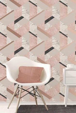 Fine Décor Marble Effect Geo Wallpaper